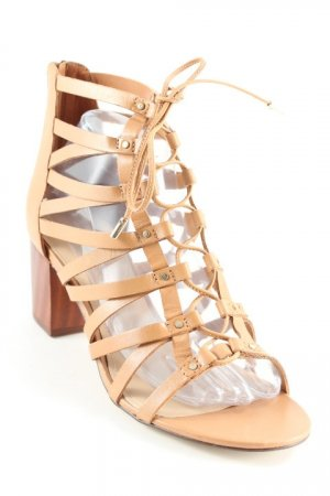 Aldo Strapped High-Heeled Sandals brown beach look