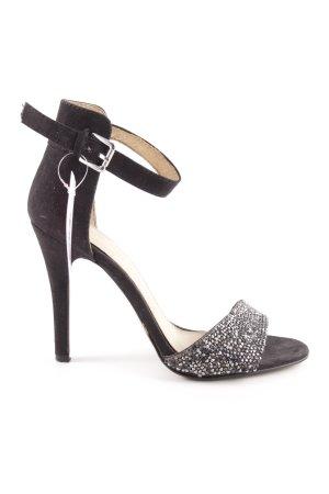 Aldo Riemchen-Sandaletten schwarz-silberfarben Brit-Look