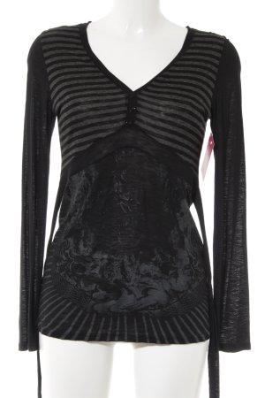 Aldomartins Manica lunga nero-grigio scuro motivo a righe stile casual