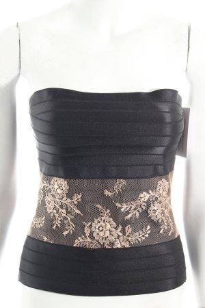 Alessandro Dell' Acqua Corsagen Top schwarz-nude florales Muster Romantik-Look