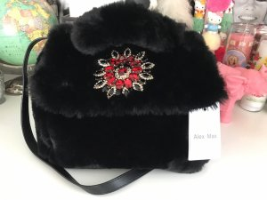 Alex Max Strass Teddy Tasche Bag schwarz black