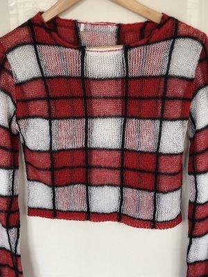 Alexander McQueen Pull en laine blanc-rouge