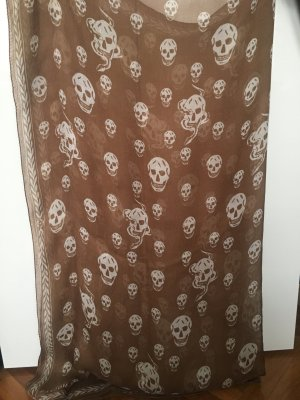 Alexander McQueen Silk Scarf light brown-white