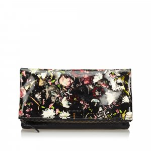 Alexander Mcqueen Floral Print Patent Leather Clutch Bag
