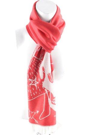 Alexander McQueen Fransenschal rot-wollweiß abstraktes Muster Casual-Look