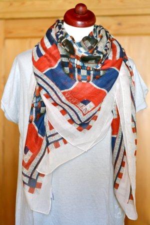 ALEXANDER McQUEEN großes Tuch Modal Kaschmir Skull Totenköpfe blau-rot Karos