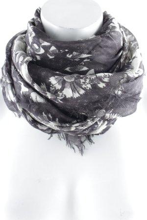 Alexander McQueen Halstuch grau-wollweiß Blumenmuster Gothic-Look