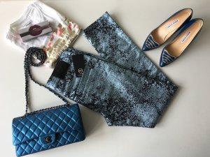 Alexander McQueen High Waist Skinny Jeans Hose Gr. 36 W27 Metallic Look