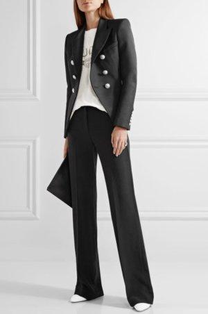 Alexander McQueen Marlene Dietrich broek zwart-donkerblauw Gemengd weefsel