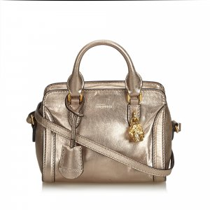 Alexander Mcqueen Leather Small Skull Padlock Satchel