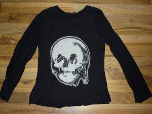 ALEXANDER MCQUEEN Longsleeve Shirt Totenkopf Skull Zweilagig Oberteil Gr. 34 XS