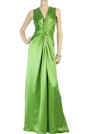 Alexander McQueen Maxi Seiten Satin Kleid grün 36