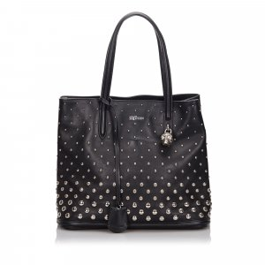 Alexander Mcqueen Skull Padlock Studded Leather Tote Bag