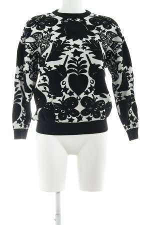 Alexander McQueen Knitted Sweater black-natural white floral pattern