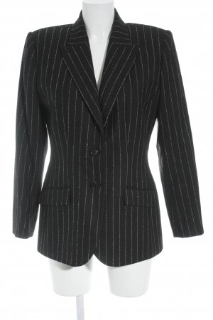 Alexander McQueen Wool Blazer black-natural white striped pattern casual look