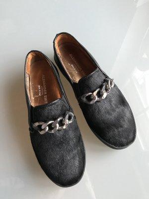 Alexander Smith London Sneakers mit Ponyfell schwarz Leder Plateau Schuhe
