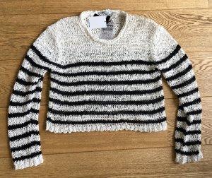 * ALEXANDER WANG * NEU ! Oversize grobstrrick Pullover schwarz weiß croped Gr XS (  S M ) 34 36 38