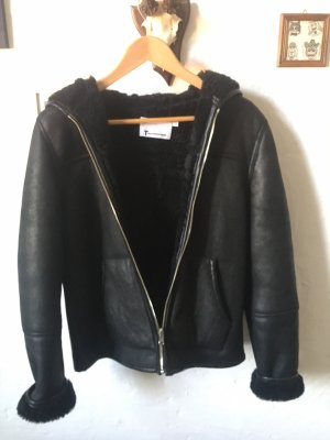 Alexander Wang Fur Jacket black leather