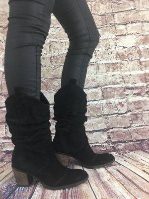 Botas slouch negro-marrón-negro Gamuza