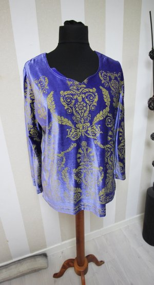 Alfredo Pauly Kraagloze sweater goud-blauw