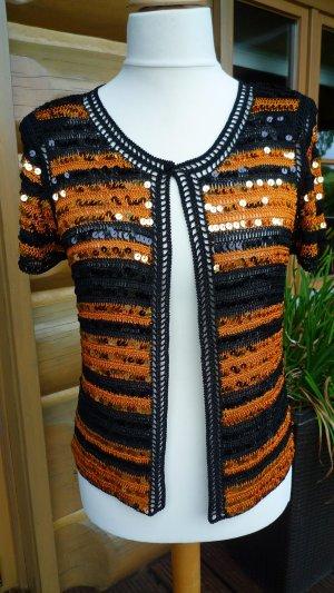 Alfredo Pauly Cardigan in maglia nero-arancione scuro Viscosa