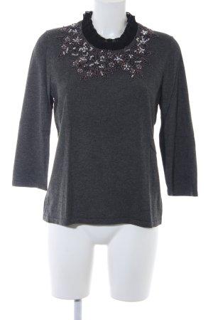 Alfredo Pauly Kraagloze sweater donkergrijs bloemen patroon glitter-achtig