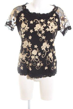 Alfredo Pauly Kanten blouse zwart-wolwit volledige print zakelijke stijl