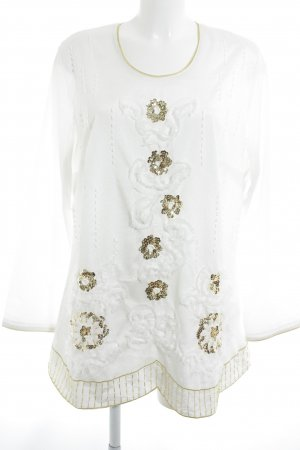Alfredo Pauly Tunic Blouse natural white-gold-colored floral pattern elegant