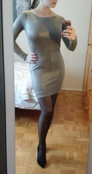 Alice and Olivia Kleid Gr. S 36 Bodycon Langarm Silvester Taupe sexy designer