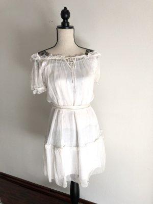 Alice by Temperley Vestido estilo flounce blanco Seda
