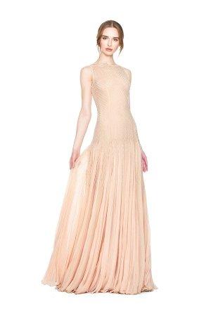 Alice + Olivia Champagne salti Embellished Gown