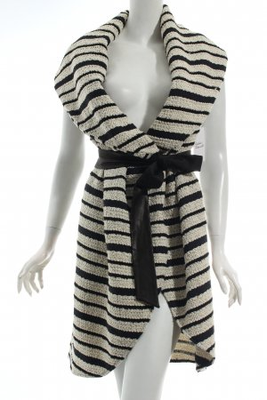 Alice + Olivia Long Knitted Vest cream-black striped pattern street-fashion look