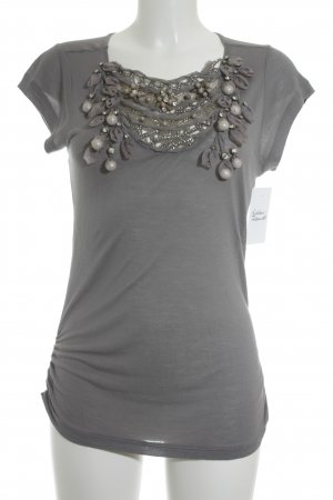 Alice + Olivia T-Shirt dark grey-silver-colored floral pattern elegant