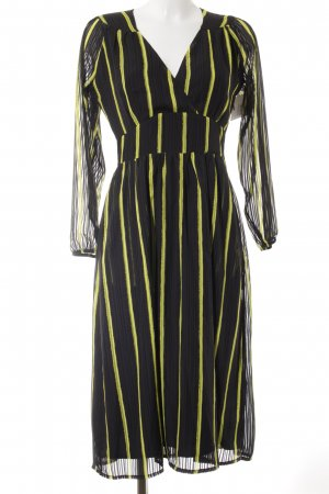 Alice's Pig Maxi Dress black-yellow striped pattern vintage look