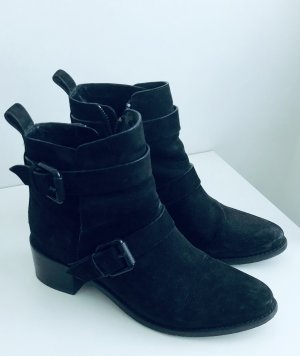 All Saints Zipper Booties black leather