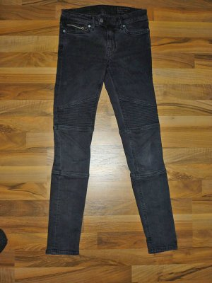 ALL SAINTS Biker Jeans grau / schwarz Skinny W26 Stretch XS 34