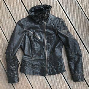 All Saints Veste en cuir brun foncé-brun noir cuir