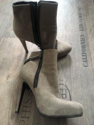 All Saints Zipper Booties grey brown