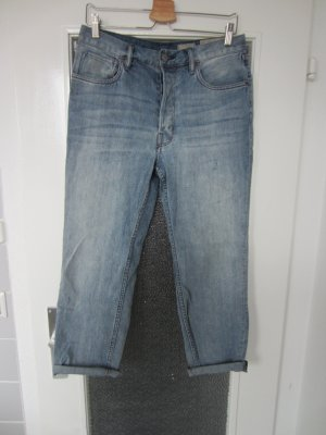 All Saints Jeans boyfriend bleu azur coton