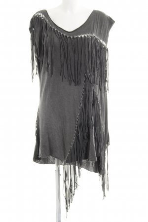 All Saints Fringed Dress grey acid wash