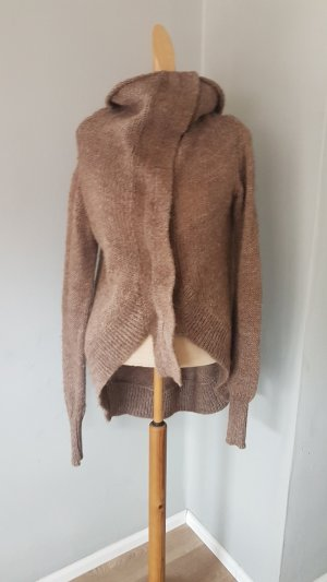 ALL SAINTS grob strickjacke cardigan gr.38 grau braun wolle