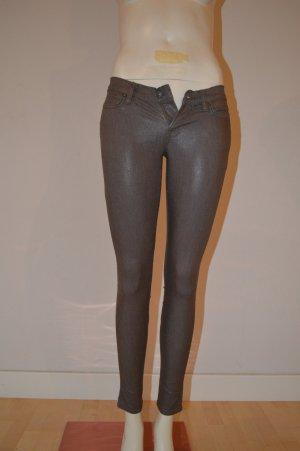 All Saints Pantalon cigarette gris brun coton