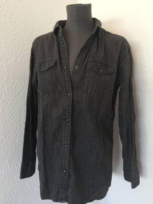 All Saints Jeans Bluse Hemd grau 36