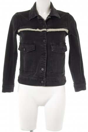 All Saints Jeansjacke schwarz-wollweiß Jeans-Optik