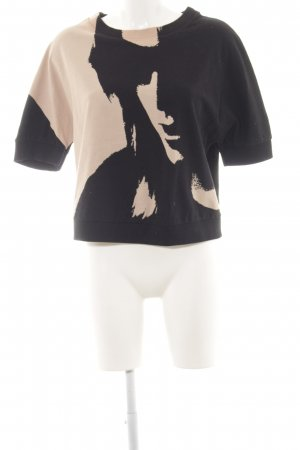 All Saints Short Sleeve Sweater black-nude abstract pattern elegant