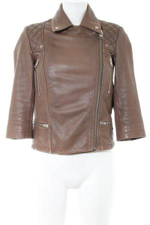 All Saints Veste en cuir brun motif de courtepointe style décontracté