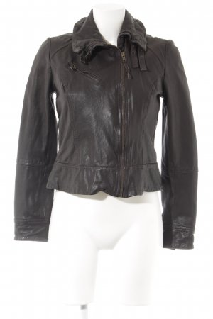 All Saints Leren jack donkerbruin Biker-look