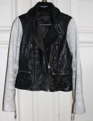 All Saints Leather Jacket black-silver-colored leather
