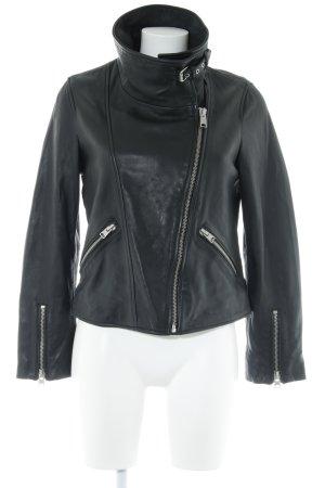 All Saints Veste en cuir noir style classique