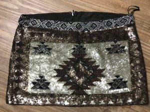 All Saints Mini-jupe marron clair-noir coton